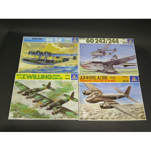 17 - Four Italeri WWII German War Plane Kits 1/72 Scale. No. 111, 122, 117, 119. Appear unmade, complete ...