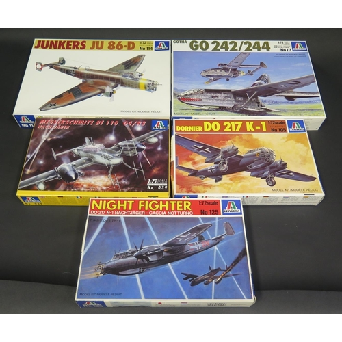18 - Five Italeri WWII German War Plane Kits 1/72 Scale. No. 125, 105, 039, 114, 111.  Appear unmade, com...