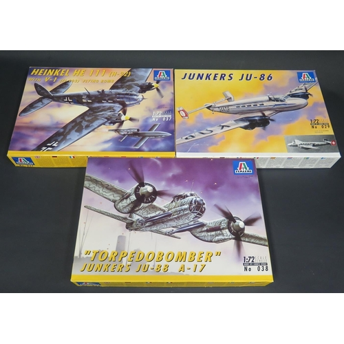 19 - Three Italeri WWII German War Plane etc. Kits 1/72 Scale. No. 029, 038, 037. Appear unmade, complete...
