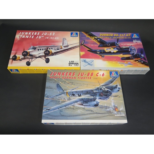 20 - Three Italeri WWII German War Plane etc. Kits 1/72 Scale. No. 069, 022, 102. Appear unmade, complete...