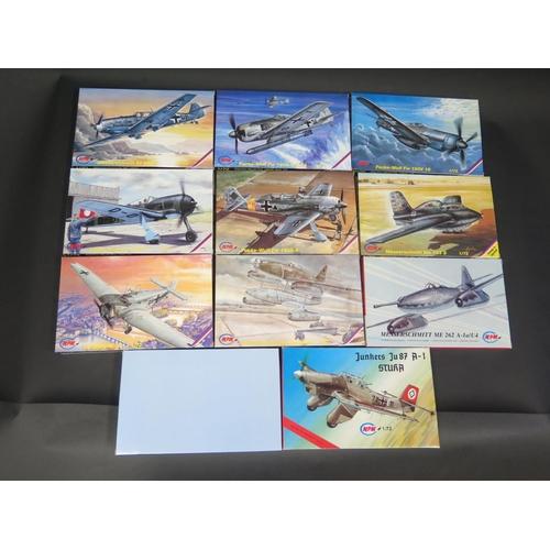 21 - Eleven MPM WWII German War Plane Kits 1/72 Scale. Including, Messerschmitt, Junkers and Focke-Wulf. ...