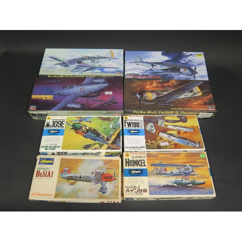 22 - Eight Hasegawa German War Plane Kits 1/72 Scale. Including Heinkel, Focke-Wulf and Messerschmitt. Ap...