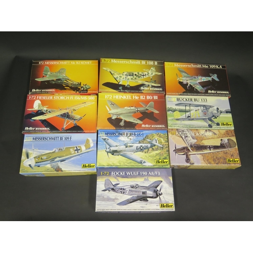 23 - Ten Heller WWII German War Plane etc. Kits 1/72 Scale. Including Messerschmitt, Bucker, Focke Wulf, ...