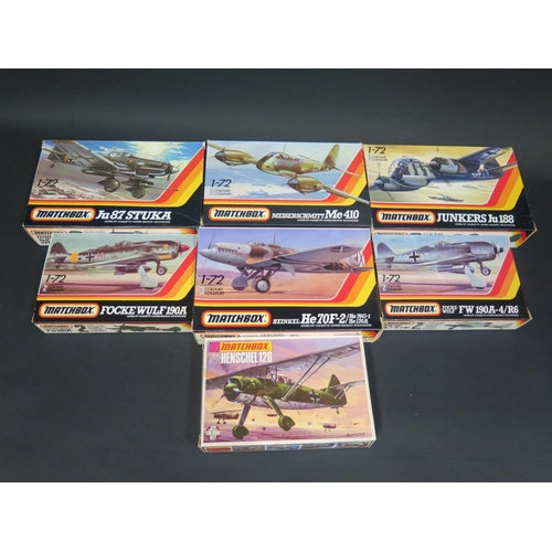 24 - Seven Matchbox WWII German War Plane etc. Kits 1/72 Scale. Including PK-109 Junkers, PK-26 Henschel,...