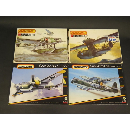 25 - Four Matchbox WWII German War Plane Kits 1/72 Scale. PK-401 Heinkel, PK-409 Dornier, 40416 Arado, 40...