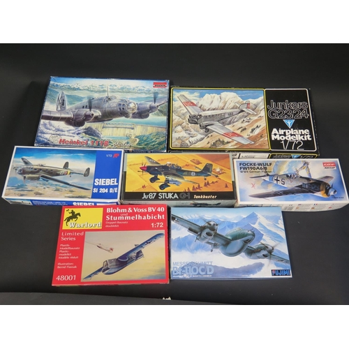 26 - Seven Various WWII German War Plane Kits 1/72 Scale. Brands Include Fujimi, Minicraft, Warload, Rode...