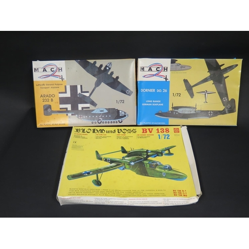 2B - Two Mach and One SuperModel WWII German War Plane Kits 1/72 Scale. Dornier, Arado, Blohm. Appear unm...