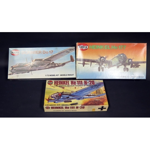 3 - Three Airfix WWII German War Plane Kits 1/72 Scale. 04004-4, 04014-1, 05009-2. Appear unmade, comple...