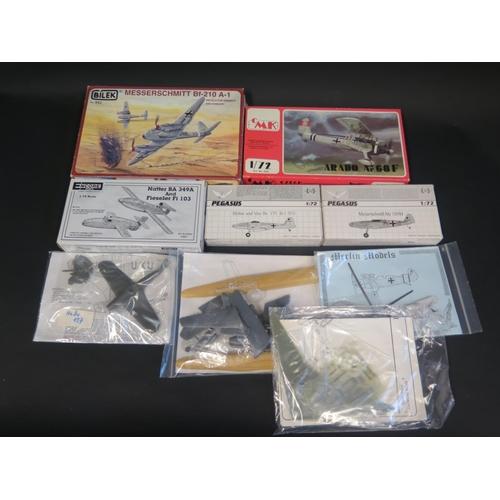 30 - Nine CMK, Merlin Models, Bilek Pegasus etc. WWII German War Plane etc. Kits 1/72 Scale.  Appear unma...