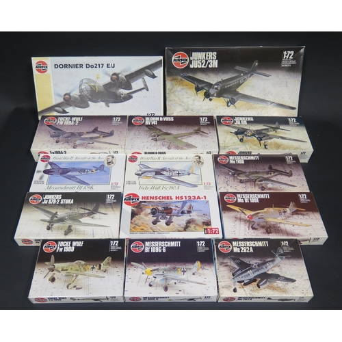 4 - Fourteen Airfix German War Plane Kits 1/72 Scale.  Appear unmade, complete and boxed....