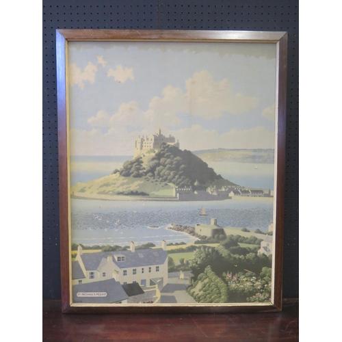 433a - A Donald Lampitt St. Michael's Mount Railway Print, original, but cut, 75x58cm...