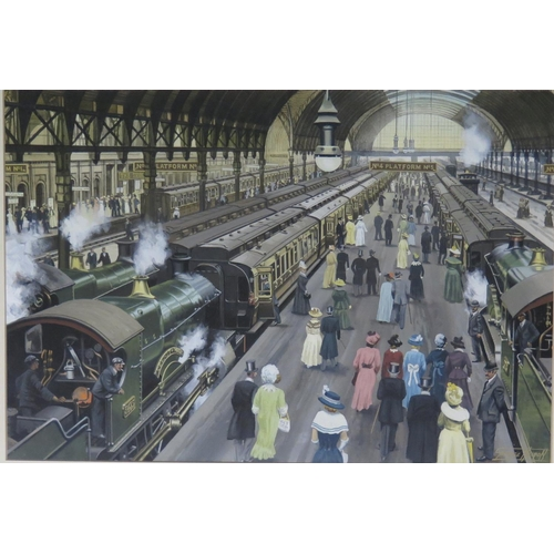 439 - George Heiron (1929 - 2001), 'Passengers Arriving at Paddington to join Special Trains for the Royal...