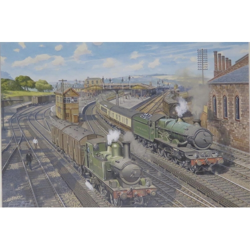 445 - George Heiron (1929 - 2001), Original Signed Watercolour Dated 1999, Two Trains pulling out of the S...