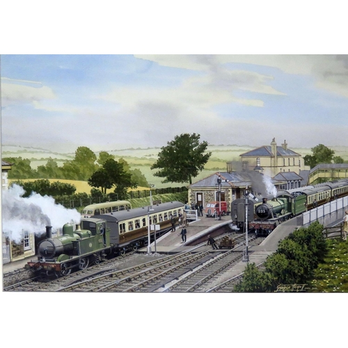 446 - George Heiron (1929 - 2001), Original Signed Watercolour Dated April 2000 entitled 'Churston Station...