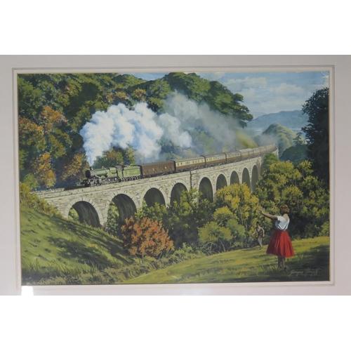 447 - George Heiron (1929 - 2001), Original Signed Watercolour, 'A Kingswear - Paddington Express climbing...