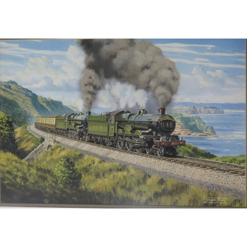 448 - George Heiron (1929 - 2001), Original Signed Watercolour of The Torbay Express with 'Pendennis Castl...