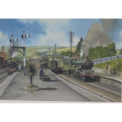 449 - George Heiron (1929 - 2001), Original Signed Painting of 'Brent Station in the Summer of 1949' with ...