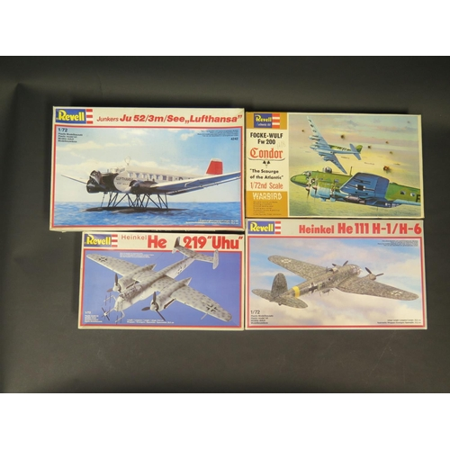 6 - Four Revell WWII German War Plane etc. Model Kits 1/72 Scale. 4127 Heinkel, 4335 Heinkel, H-204 Fock...