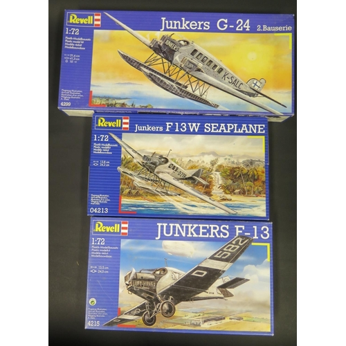 7 - Three Revell German Junkers Plane Kits 1/72 Scale. 4215, 04213, 4299.  Appear unmade, complete and b...