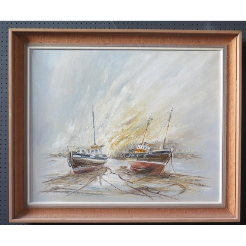 702 - Wyn Appleford, Two Fishing Boats at Low Tide, 20/21st Century, Oil on Canvas, 76 x 61cm, Framed...