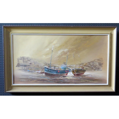 703 - Wyn Appleford, Fishing Boats Moored Up, 20/21st Century, Oil on Canvas, 76 x 39cm, Framed...
