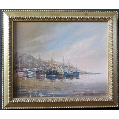 704 - Wyn Appleford, Boats Lined up in the Harbour, 2oth/21st Century, Oil on Canvas, 49 x 40cm, Framed...