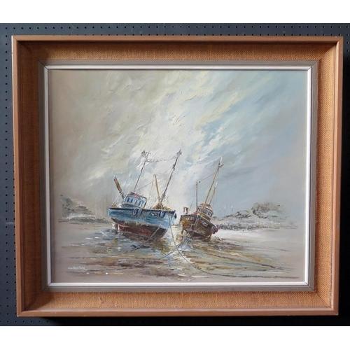 705 - Wyn Appleford, Moored Up, 20th/21st Century, Oil on Canvas, 60 x 50cm, Framed...