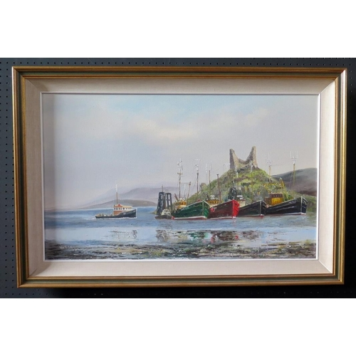 706 - Wyn Appleford, Fishing Boasts with Ruins behind, 20th/21st Century, Oil on Canvas, 75 x 46cm, Framed...