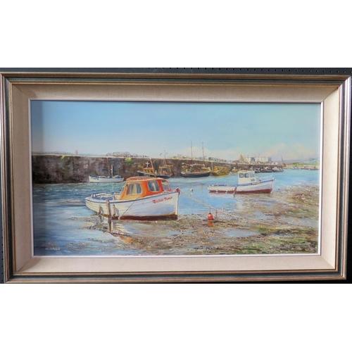 708 - Wyn Appleford, 'Tudor Rose' Hayle, Cornwall, 20th/21st Century, Oil on Canvas, 74 x 41cm, Framed...