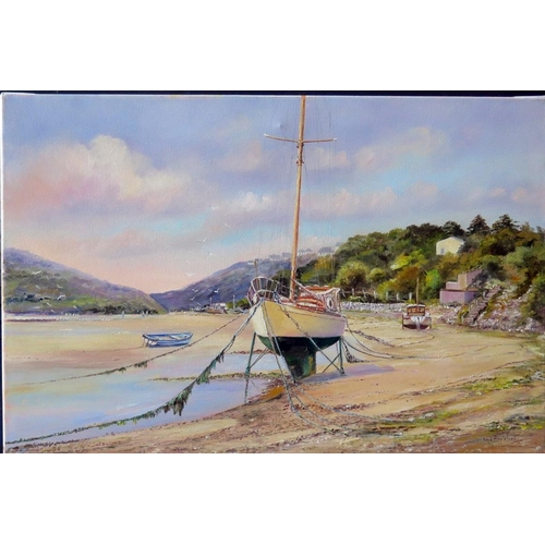 710 - Wyn Appleford, Fishing Boat Moored up on the Sandy Shores, 20th/21st Century, Oil on Canvas, 61 x 40...