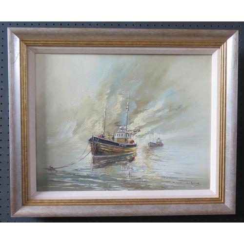 711 - Wyn Appleford, Fishing Boats in the Mist, 20th/21st Century, Oil on Canvas, 44 x 35cm, Framed...