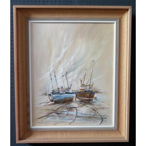 713 - Wyn Appleford, Three Fishing Boats at Low Tide, 20th/21st Century, Oil on Canvas, 50 x 30cm, Framed...