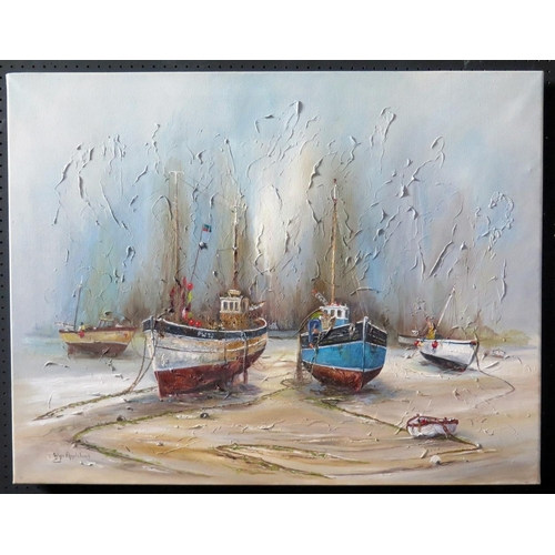 715 - Wyn Appleford, 'Old Boats Patched', 20th/21st Century, Oil on Canvas, 92 x 72cm, Unframed...