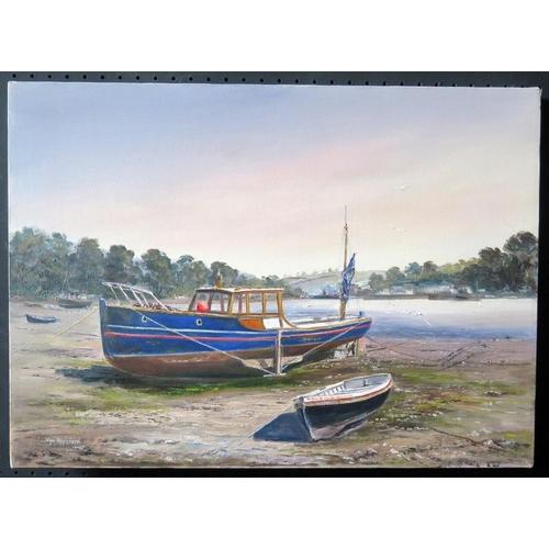 718 - Wyn Appleford, ' Boats. River at Turo', 20th/21st Century, Oil on Canvas, 57 x 40cm, Unframed...