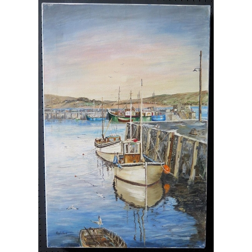 721 - Wyn Appleford, Boats by the Harbour wall, Signed, 20th/21st Century, Oil on Canvas, 77 x 51cm, Unfra...