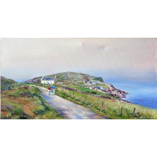 724 - Wyn Appleford, 'Headland, Newquay', Signed, 20th/21st Century, Oil on Canvas, 76 x 40cm, Unframed...
