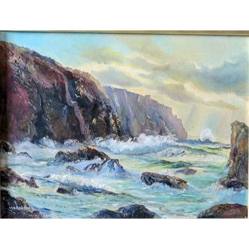 727 - Wyn Appleford, Sun breaking through onto the cliffs and sea, Signed, 20th/21st Century, 60 x 45cm, F...