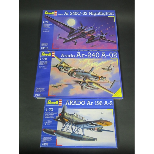 8 - Three Revell Araddo WWII German War Plane Kits 1/72 Scale. 4197, 04331, 04310. Appear unmade, comple...