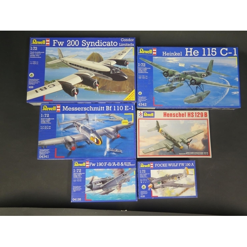 9 - Six Revell WWII German War Plane etc. Kits 1/72 Scale. 4123, 04135, 4169, 04341, 4342, 4216. Appear ...