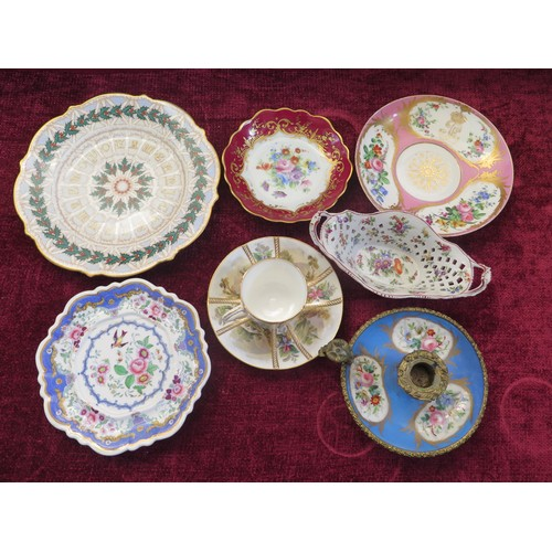 1561 - A Selection of Ceramics including Severes 1848 Saucer decorated with flowers and monogramme under cr...