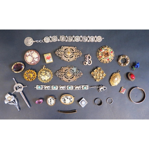 10 - A Selection of Costume Jewellery including brooches