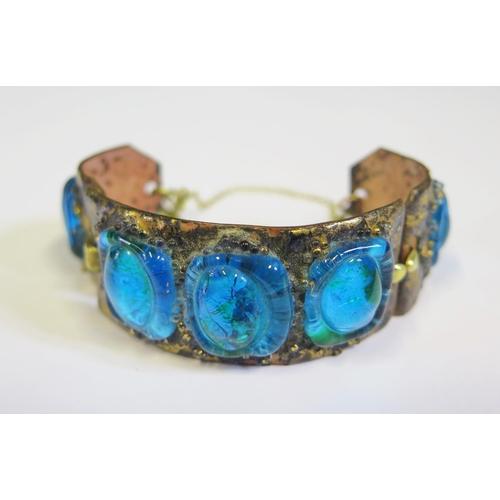 15 - An Enamel and Glass Mounted Bracelet
