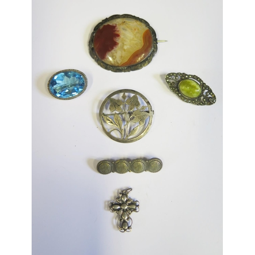 21 - A Sterling Silver and Marcasite Brooch, agate brooch, cross pendant etc.