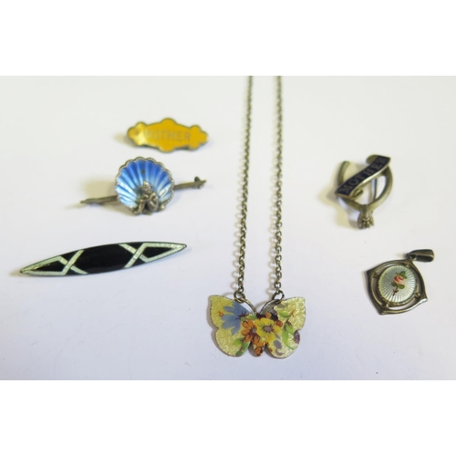 24 - Three Sterling Silver and Enamel Brooches, silver pendant and two other enamels