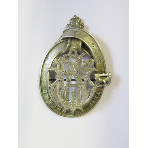 28 - THIS I'LL DEFEND Unmarked White Metal Brooch (MacFarlane Clan Motto), 76mm