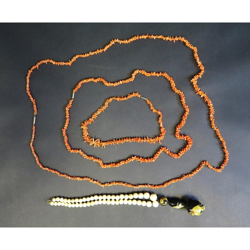 3 - Three Stick Coral Necklaces and antique ivory bead necklace