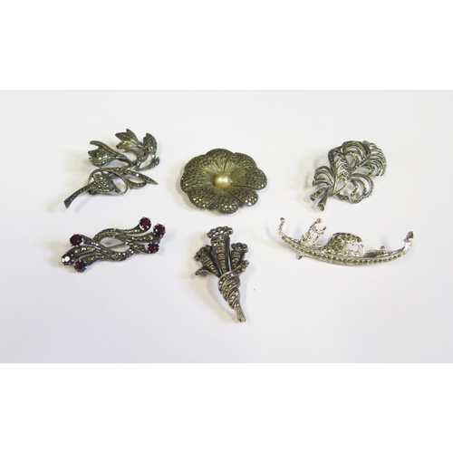 31 - Six Silver and Marcasite Mounted Brooches