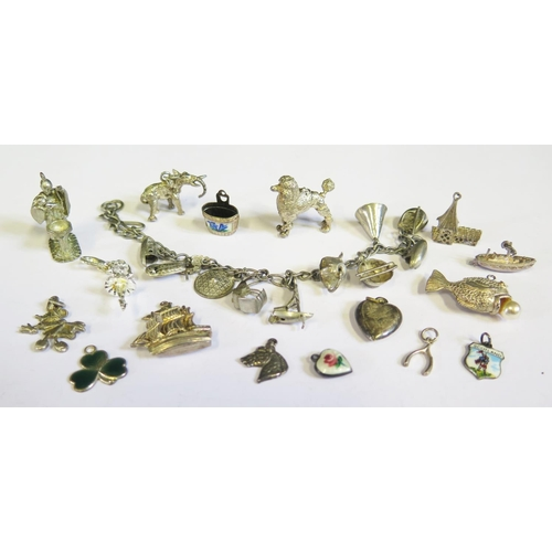 50 - A Selection of Silver and Enamel Charms etc.