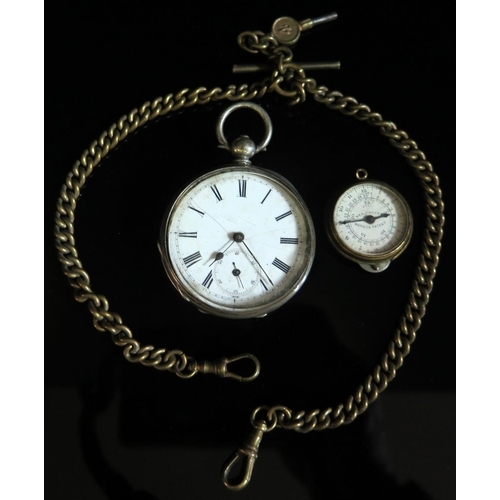 357 - A WEALEMEFNA Morris's Patent Map Measures, working (c. 1870's) and white metal cased pocket watch (A...