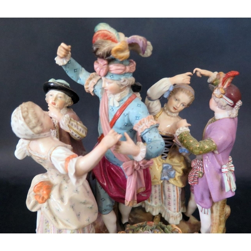 1223 - A Fine Meissen Porcelain Dancing Group of the Dance Master and Dancers, ca. 1870-80, crossed sword m...